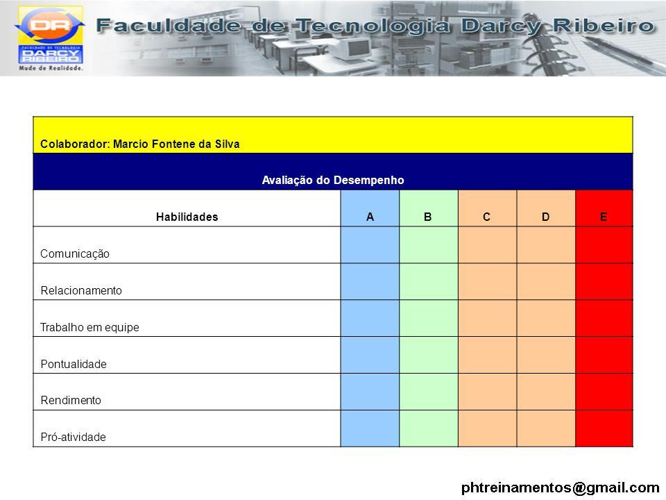 Colaborador: Marcio Fontene da Silva Avaliação do Desempenho HabilidadesABCDE Comunicação Relacionamento Trabalho em equipe Pontualidade Rendimento Pr