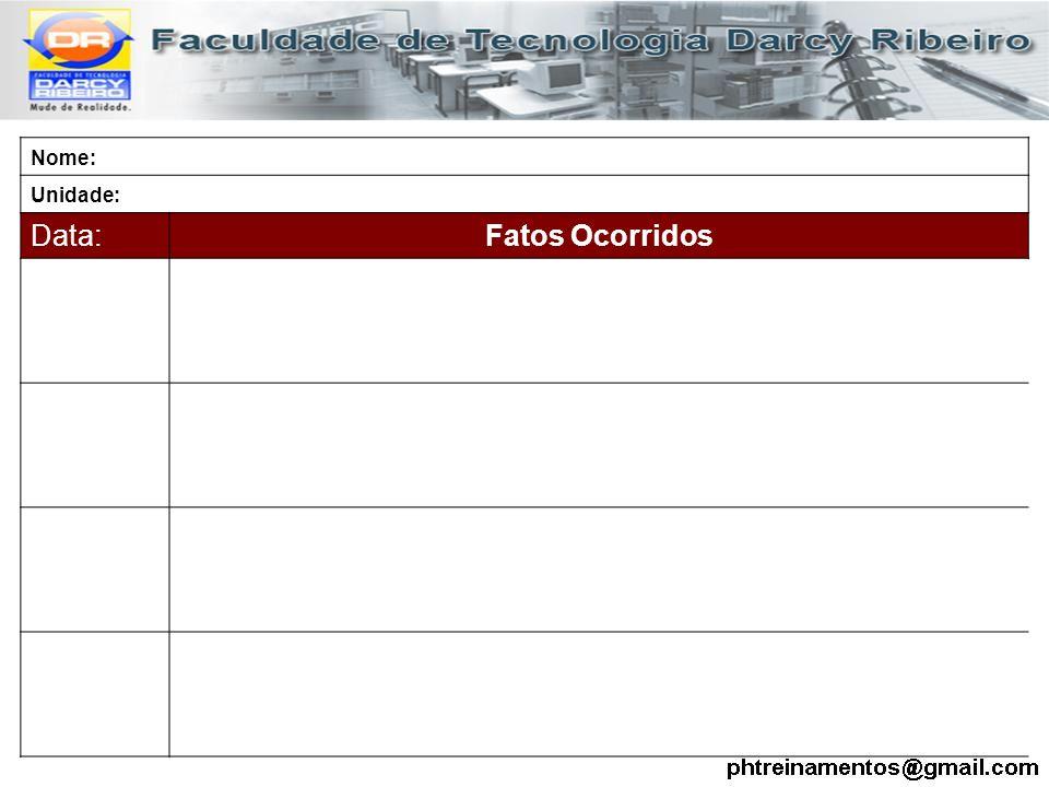 Nome: Unidade: Data:Fatos Ocorridos
