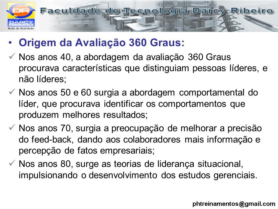 Origem da Avaliação 360 Graus: Nos anos 40, a abordagem da avaliação 360 Graus procurava características que distinguiam pessoas líderes, e não lídere