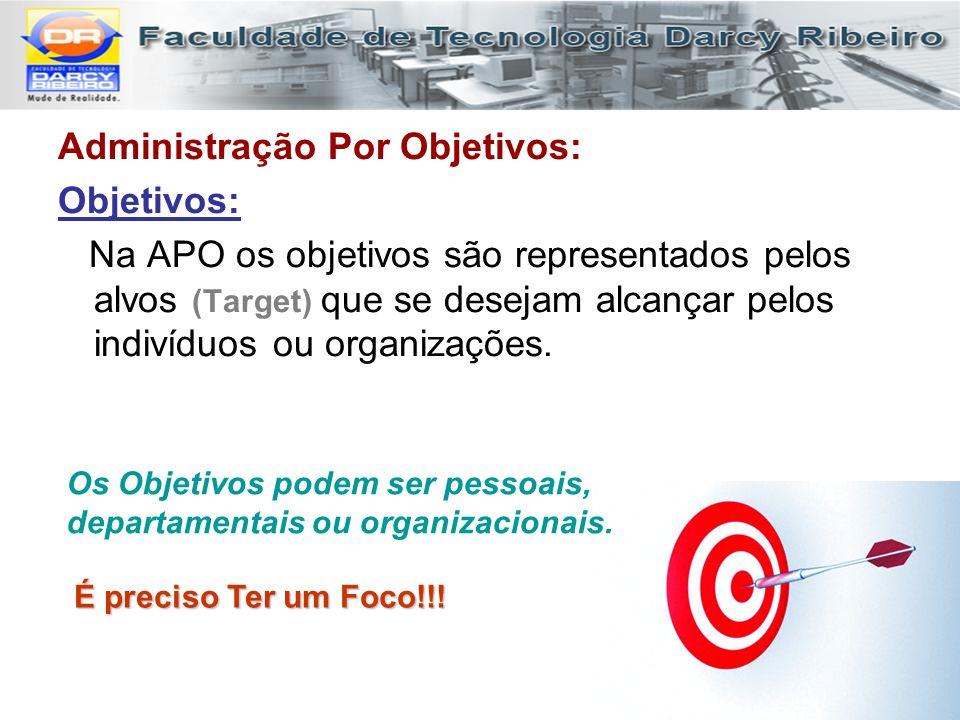 Administração Por Objetivos: Objetivos: Na APO os objetivos são representados pelos alvos (Target) que se desejam alcançar pelos indivíduos ou organiz