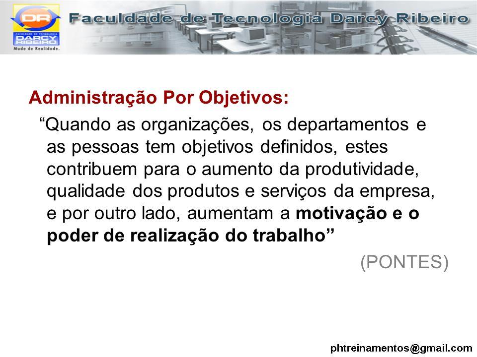 """Administração Por Objetivos: """"Quando as organizações, os departamentos e as pessoas tem objetivos definidos, estes contribuem para o aumento da produt"""