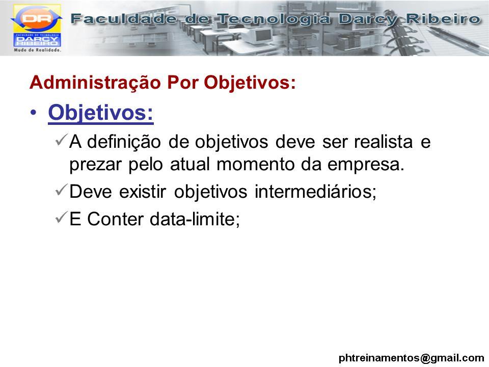 Administração Por Objetivos: Objetivos: A definição de objetivos deve ser realista e prezar pelo atual momento da empresa. Deve existir objetivos inte