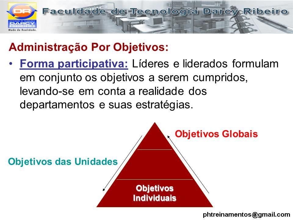 Administração Por Objetivos: Forma participativa: Líderes e liderados formulam em conjunto os objetivos a serem cumpridos, levando-se em conta a reali