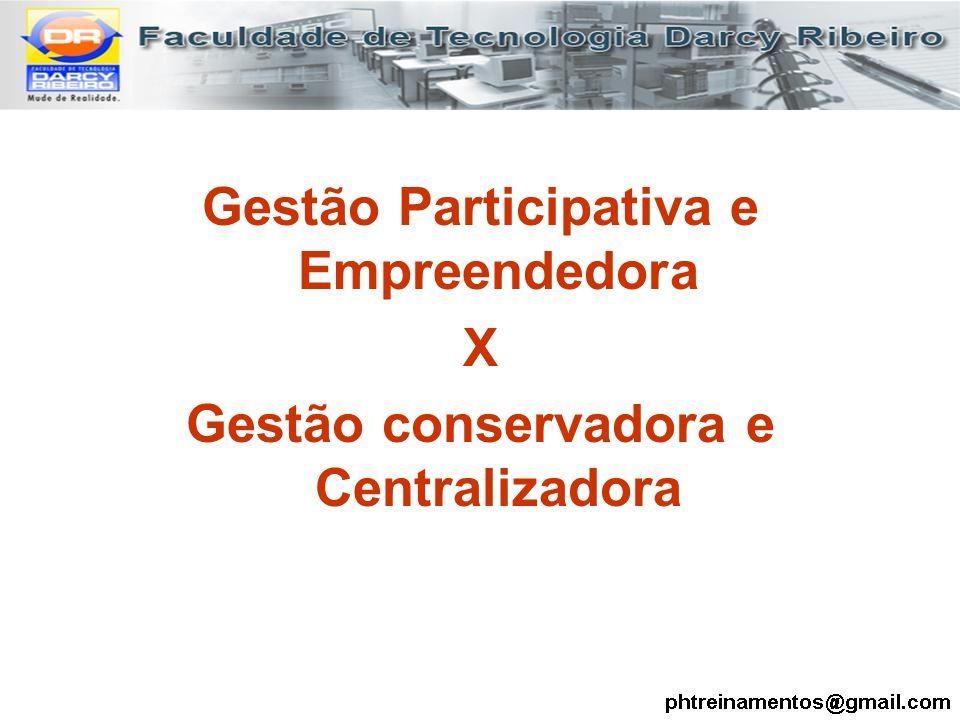 Gestão Participativa e Empreendedora X Gestão conservadora e Centralizadora