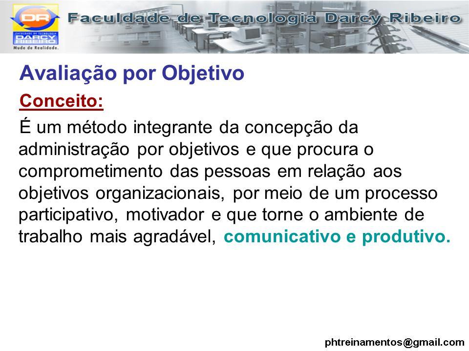 Avaliação por Objetivo Conceito: É um método integrante da concepção da administração por objetivos e que procura o comprometimento das pessoas em rel