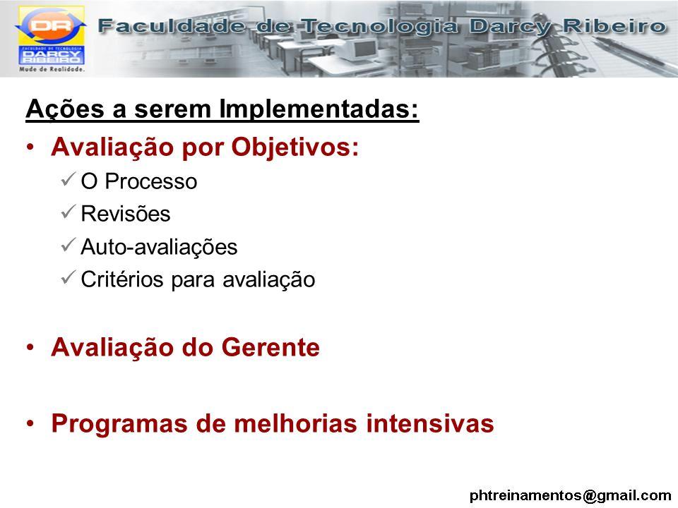 Ações a serem Implementadas: Avaliação por Objetivos: O Processo Revisões Auto-avaliações Critérios para avaliação Avaliação do Gerente Programas de m
