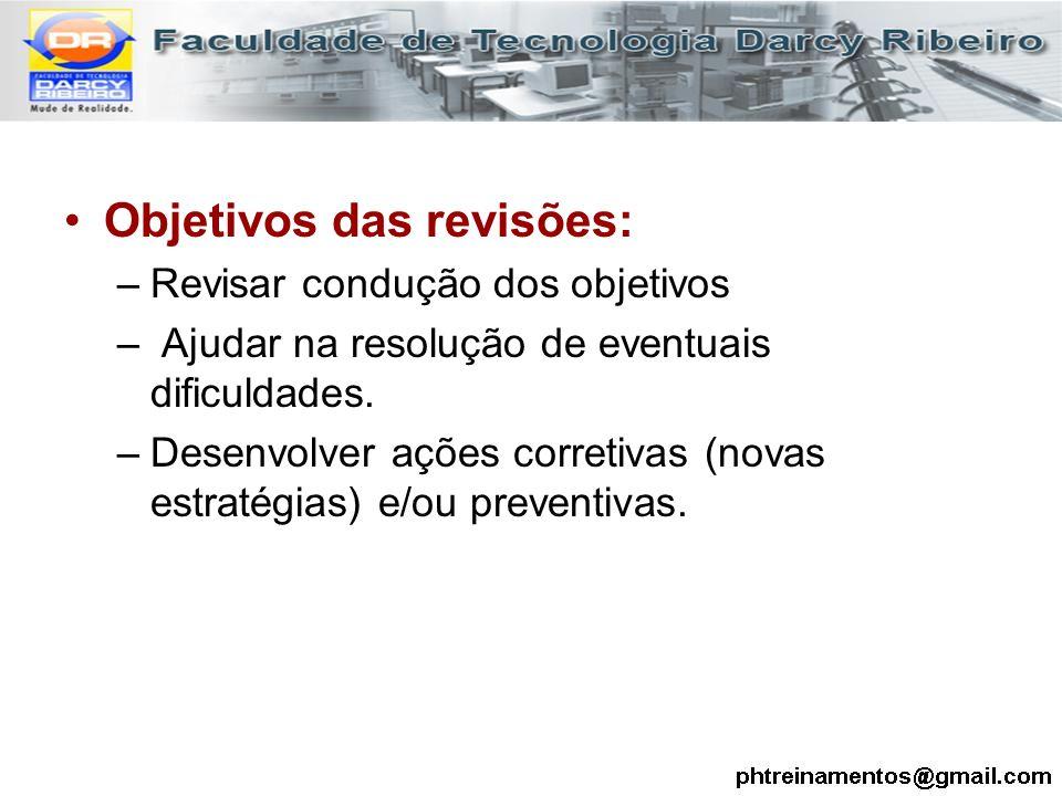 Objetivos das revisões: –Revisar condução dos objetivos – Ajudar na resolução de eventuais dificuldades. –Desenvolver ações corretivas (novas estratég