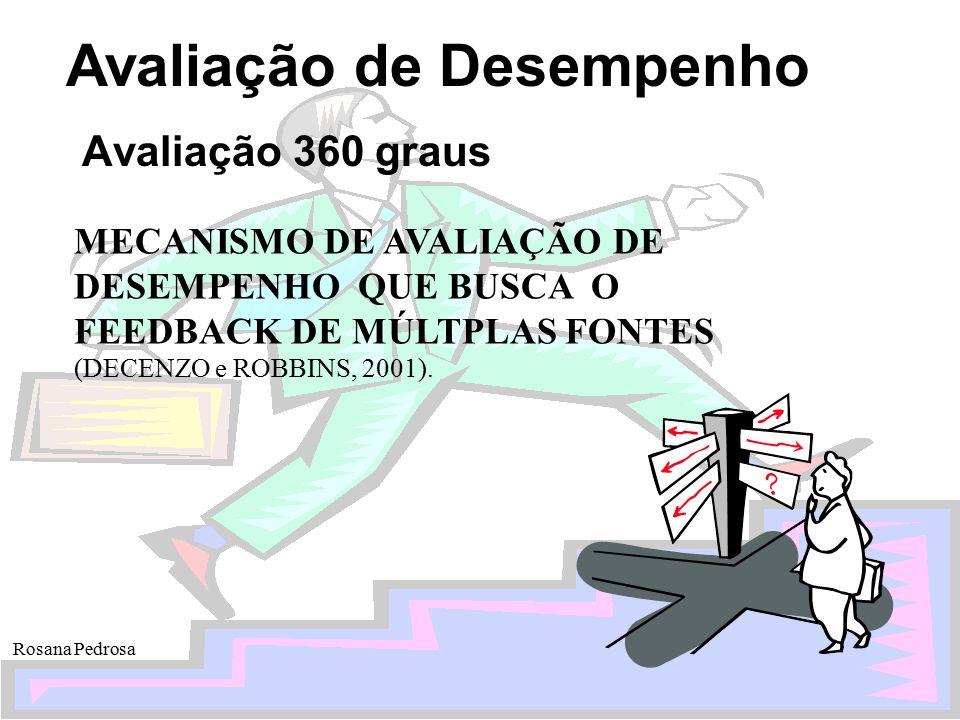 Avaliação de Desempenho Rosana Pedrosa Avaliação 360 graus MECANISMO DE AVALIAÇÃO DE DESEMPENHO QUE BUSCA O FEEDBACK DE MÚLTPLAS FONTES (DECENZO e ROB