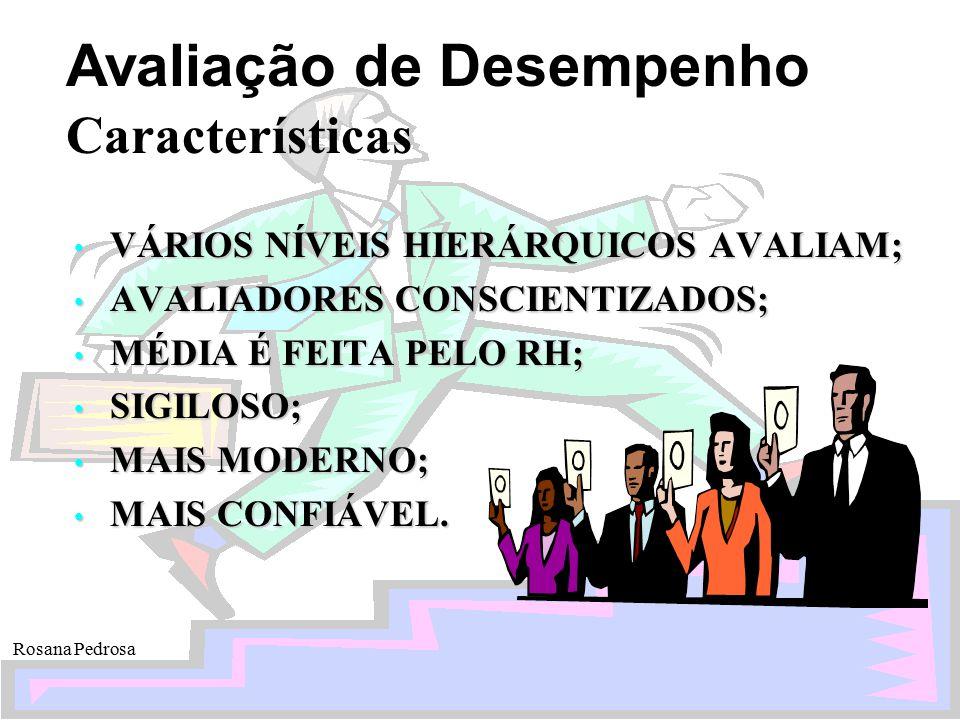 Avaliação de Desempenho Rosana Pedrosa Características VÁRIOS NÍVEIS HIERÁRQUICOS AVALIAM; VÁRIOS NÍVEIS HIERÁRQUICOS AVALIAM; AVALIADORES CONSCIENTIZ