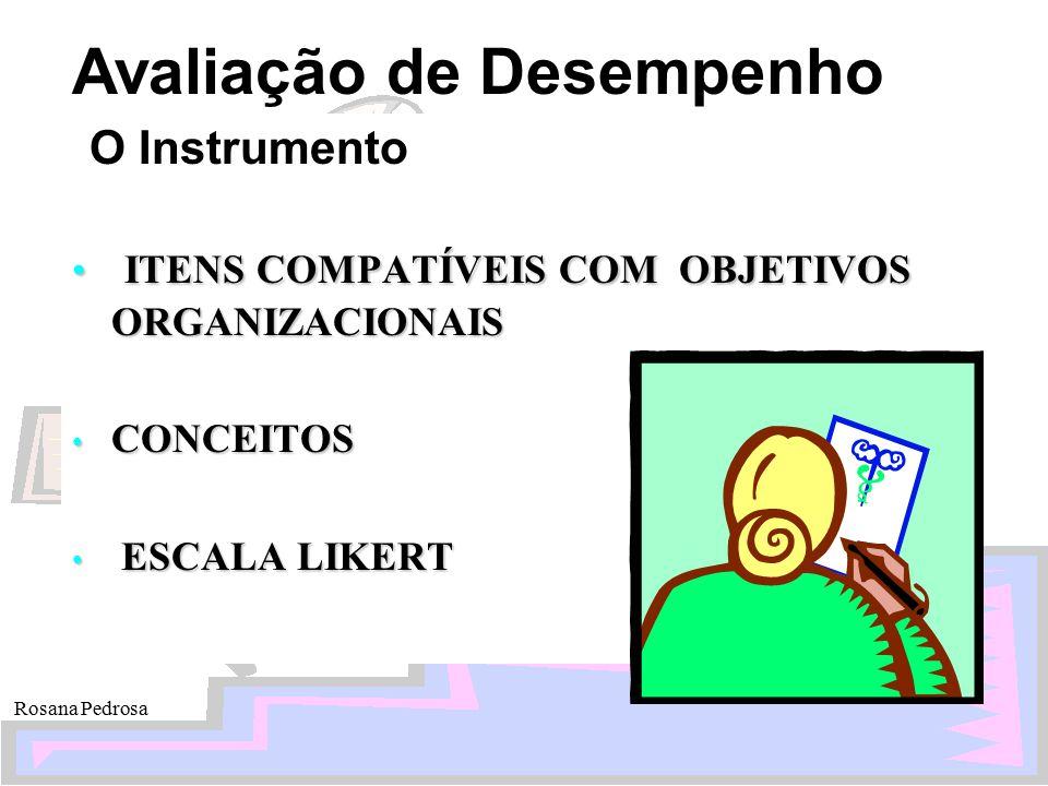 Avaliação de Desempenho Rosana Pedrosa O Instrumento ITENS COMPATÍVEIS COM OBJETIVOS ORGANIZACIONAIS ITENS COMPATÍVEIS COM OBJETIVOS ORGANIZACIONAIS C