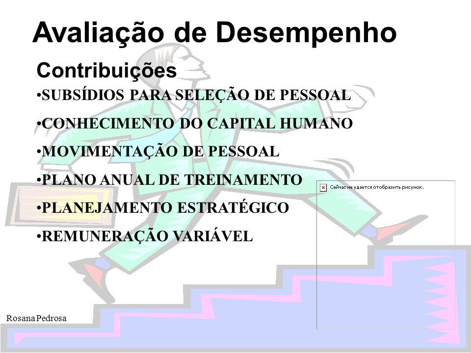 Avaliação de Desempenho Rosana Pedrosa Contribuições SUBSÍDIOS PARA SELEÇÃO DE PESSOAL CONHECIMENTO DO CAPITAL HUMANO MOVIMENTAÇÃO DE PESSOAL PLANO AN