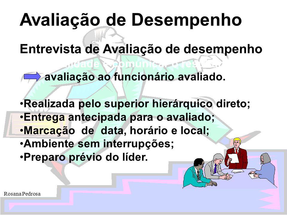 Avaliação de Desempenho Rosana Pedrosa Entrevista de Avaliação de desempenho Finalidade é comunicar o resultado da avaliação ao funcionário avaliado.