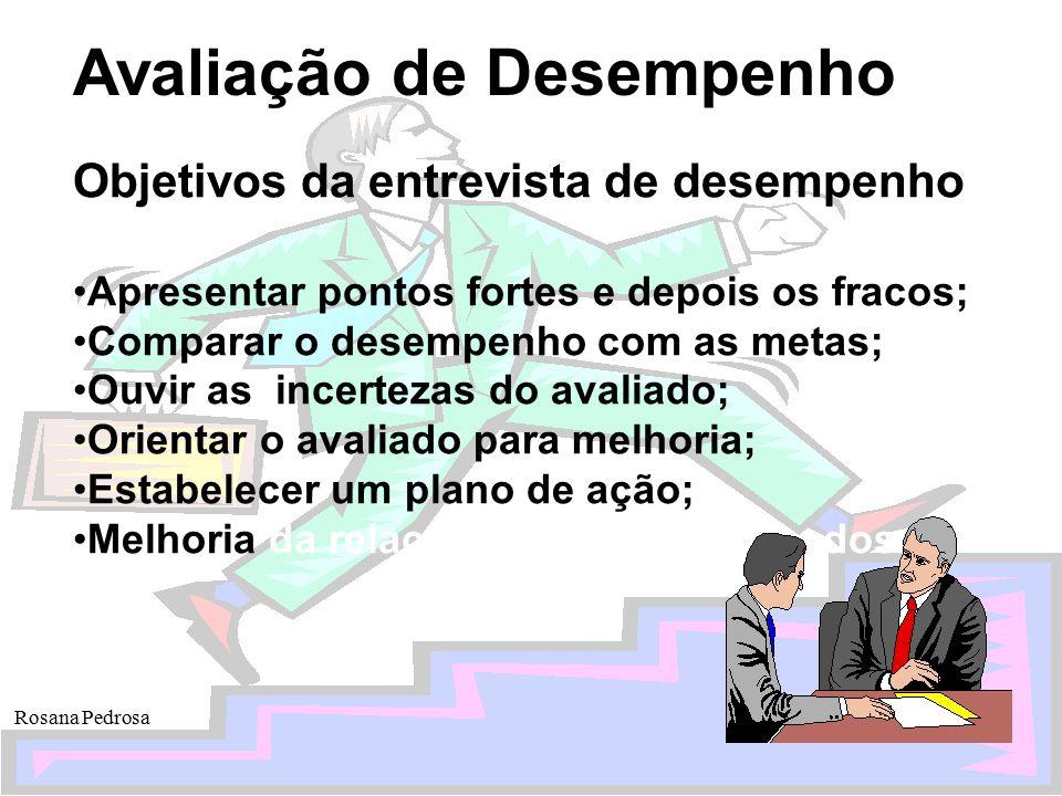 Avaliação de Desempenho Rosana Pedrosa Objetivos da entrevista de desempenho Apresentar pontos fortes e depois os fracos; Comparar o desempenho com as