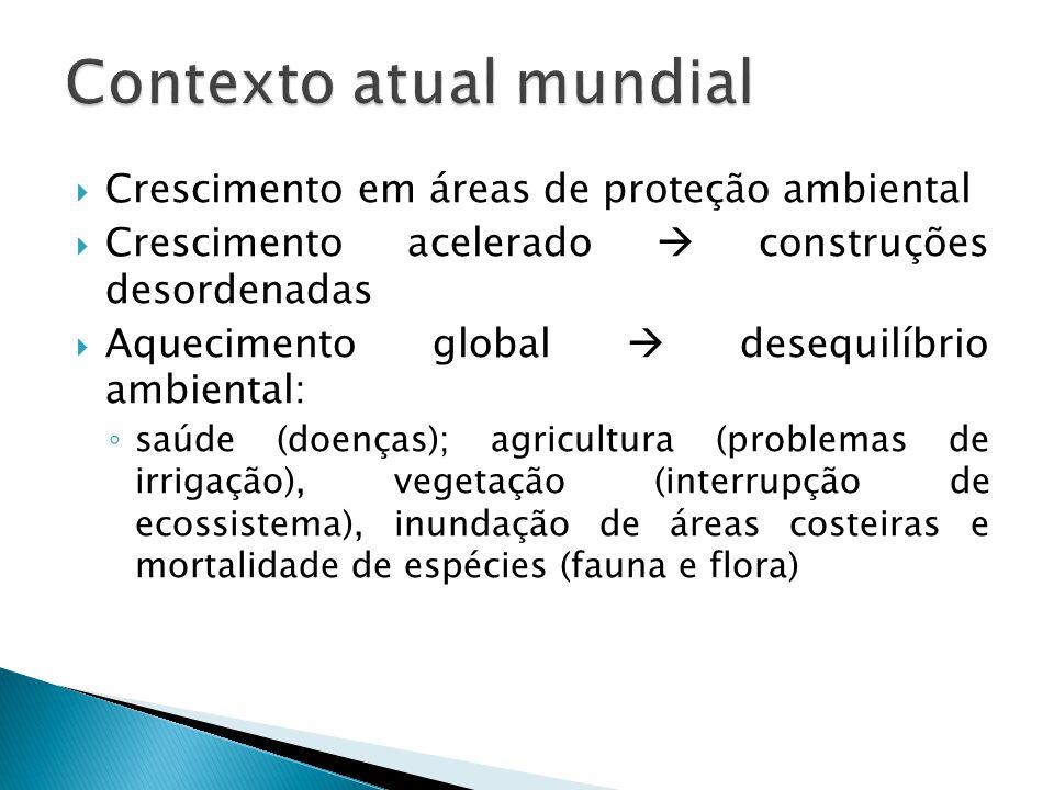  Crescimento em áreas de proteção ambiental  Crescimento acelerado  construções desordenadas  Aquecimento global  desequilíbrio ambiental: ◦ saúd