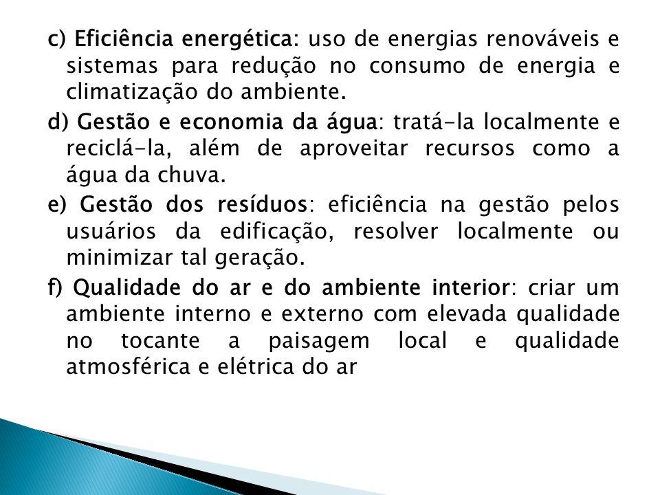 c) Eficiência energética: uso de energias renováveis e sistemas para redução no consumo de energia e climatização do ambiente. d) Gestão e economia da