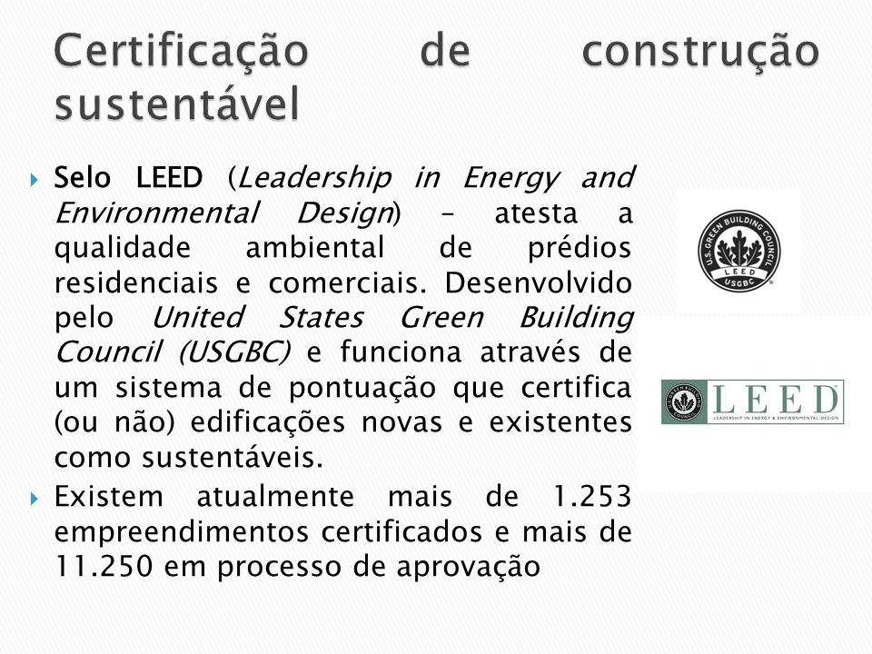  Selo LEED (Leadership in Energy and Environmental Design) – atesta a qualidade ambiental de prédios residenciais e comerciais. Desenvolvido pelo Uni
