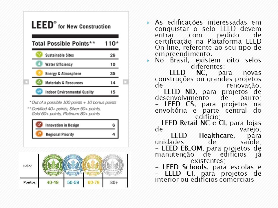  As edificações interessadas em conquistar o selo LEED devem entrar com pedido de certificação na Plataforma LEED On line, referente ao seu tipo de e