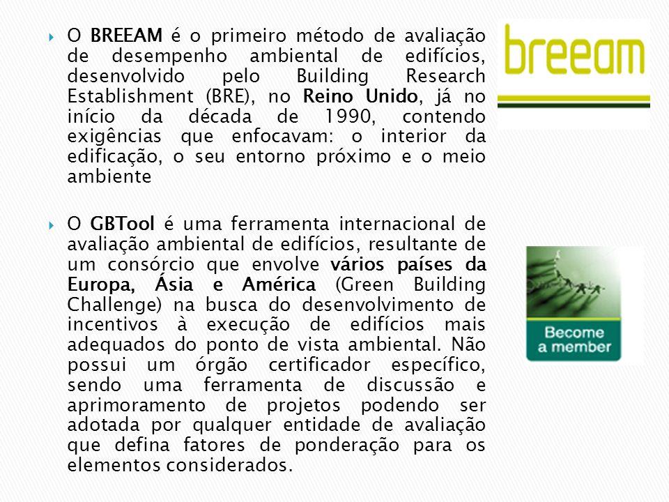  O BREEAM é o primeiro método de avaliação de desempenho ambiental de edifícios, desenvolvido pelo Building Research Establishment (BRE), no Reino Unido, já no início da década de 1990, contendo exigências que enfocavam: o interior da edificação, o seu entorno próximo e o meio ambiente  O GBTool é uma ferramenta internacional de avaliação ambiental de edifícios, resultante de um consórcio que envolve vários países da Europa, Ásia e América (Green Building Challenge) na busca do desenvolvimento de incentivos à execução de edifícios mais adequados do ponto de vista ambiental.
