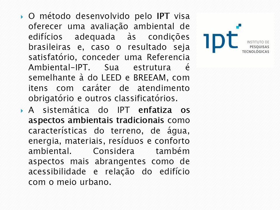  O método desenvolvido pelo IPT visa oferecer uma avaliação ambiental de edifícios adequada às condições brasileiras e, caso o resultado seja satisfatório, conceder uma Referencia Ambiental-IPT.