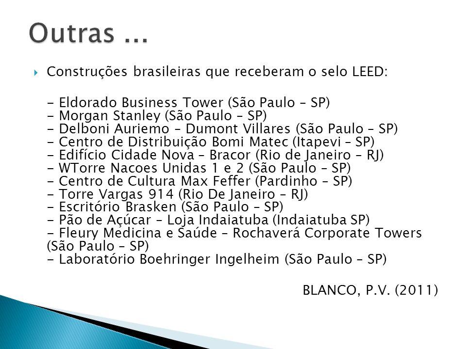  Construções brasileiras que receberam o selo LEED: - Eldorado Business Tower (São Paulo – SP) - Morgan Stanley (São Paulo – SP) - Delboni Auriemo – Dumont Villares (São Paulo – SP) - Centro de Distribuição Bomi Matec (Itapevi – SP) - Edifício Cidade Nova – Bracor (Rio de Janeiro – RJ) - WTorre Nacoes Unidas 1 e 2 (São Paulo – SP) - Centro de Cultura Max Feffer (Pardinho – SP) - Torre Vargas 914 (Rio De Janeiro – RJ) - Escritório Brasken (São Paulo – SP) - Pão de Açúcar – Loja Indaiatuba (Indaiatuba SP) - Fleury Medicina e Saúde – Rochaverá Corporate Towers (São Paulo – SP) - Laboratório Boehringer Ingelheim (São Paulo – SP) BLANCO, P.V.