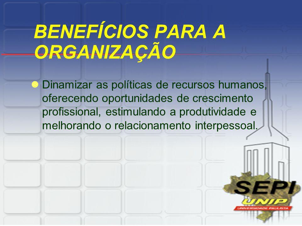 BENEFÍCIOS PARA A ORGANIZAÇÃO Dinamizar as políticas de recursos humanos, oferecendo oportunidades de crescimento profissional, estimulando a produtividade e melhorando o relacionamento interpessoal.