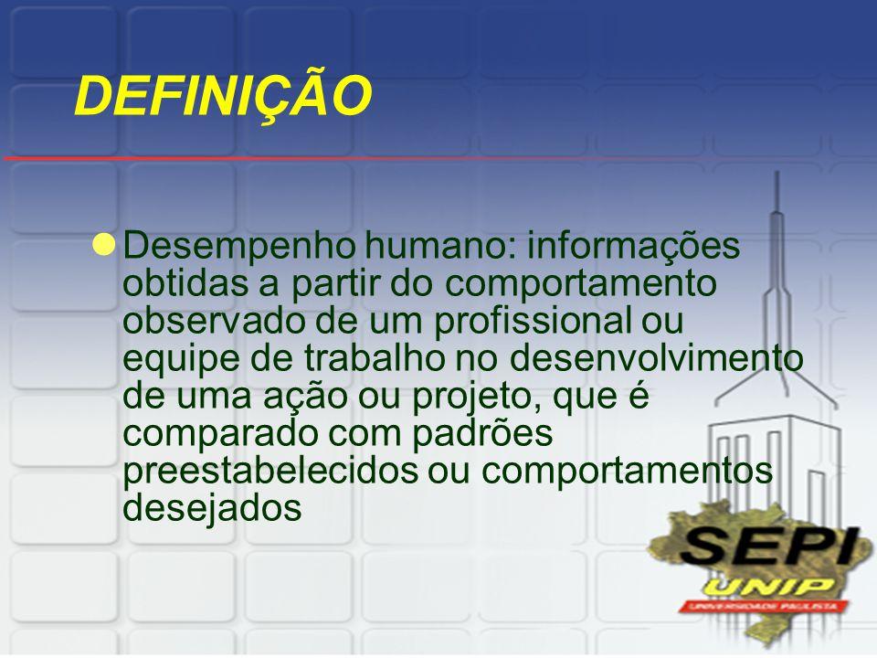 DEFINIÇÃO Desempenho humano: informações obtidas a partir do comportamento observado de um profissional ou equipe de trabalho no desenvolvimento de um