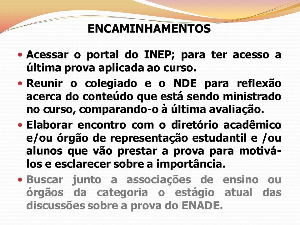 ENCAMINHAMENTOS Acessar o portal do INEP; para ter acesso a última prova aplicada ao curso. Reunir o colegiado e o NDE para reflexão acerca do conteúd