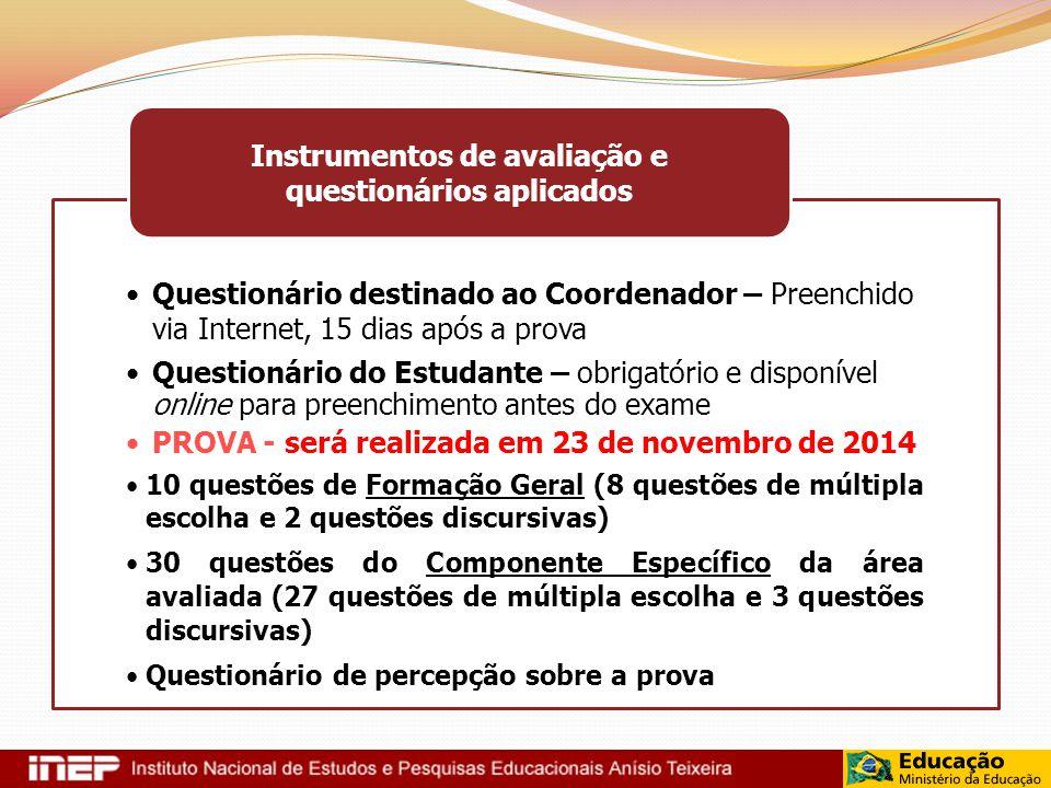 Questionário destinado ao Coordenador – Preenchido via Internet, 15 dias após a prova Questionário do Estudante – obrigatório e disponível online para