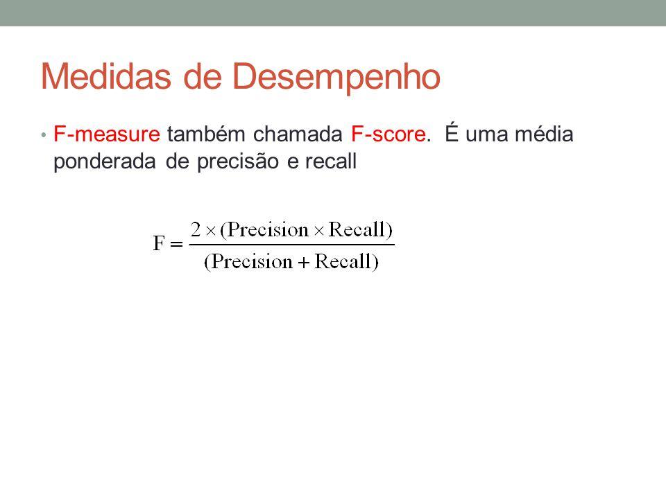 Medidas de Desempenho F-measure também chamada F-score. É uma média ponderada de precisão e recall