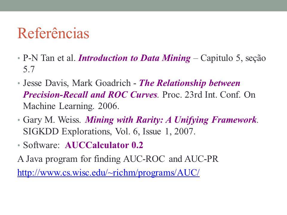 Referências P-N Tan et al. Introduction to Data Mining – Capitulo 5, seção 5.7 Jesse Davis, Mark Goadrich - The Relationship between Precision-Recall