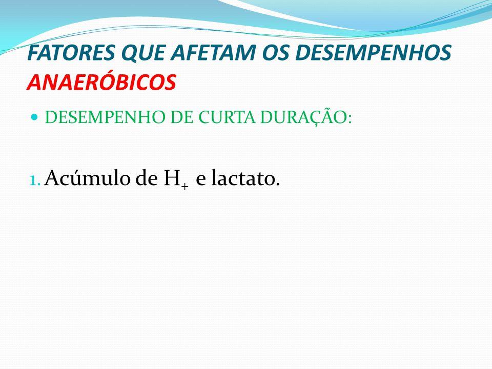 FATORES QUE AFETAM OS DESEMPENHOS ANAERÓBICOS DESEMPENHO DE CURTA DURAÇÃO: 1. Acúmulo de H + e lactato.
