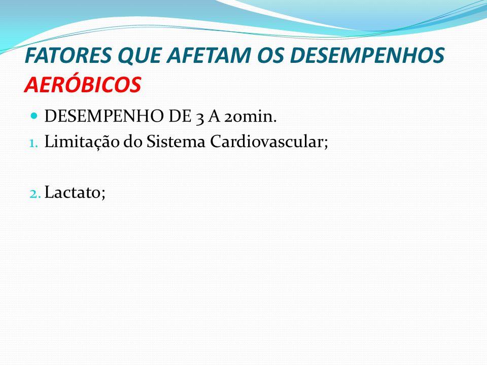 FATORES QUE AFETAM OS DESEMPENHOS AERÓBICOS DESEMPENHO DE 3 A 20min. 1. Limitação do Sistema Cardiovascular; 2. Lactato;