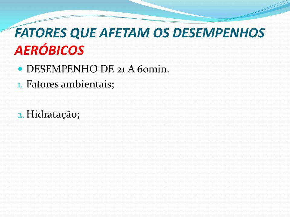 FATORES QUE AFETAM OS DESEMPENHOS AERÓBICOS DESEMPENHO DE 21 A 60min. 1. Fatores ambientais; 2. Hidratação;