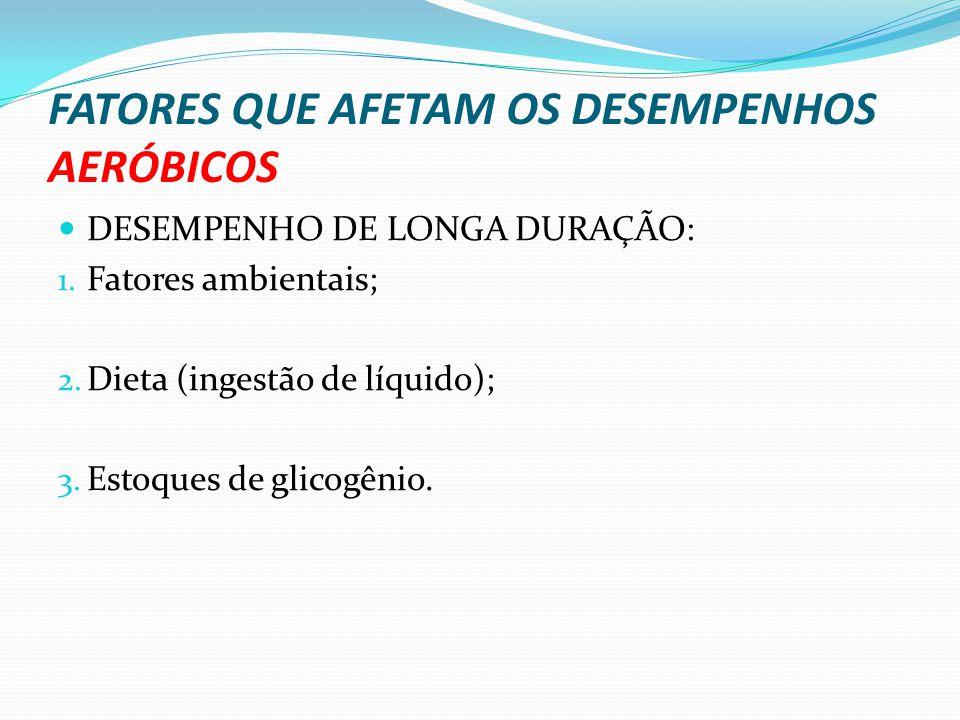 FATORES QUE AFETAM OS DESEMPENHOS AERÓBICOS DESEMPENHO DE LONGA DURAÇÃO: 1. Fatores ambientais; 2. Dieta (ingestão de líquido); 3. Estoques de glicogê