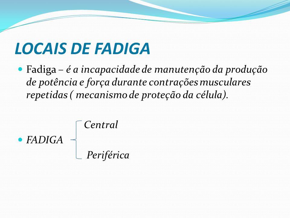 LOCAIS DE FADIGA Fadiga – é a incapacidade de manutenção da produção de potência e força durante contrações musculares repetidas ( mecanismo de proteção da célula).