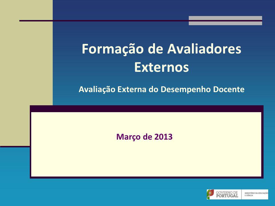 Formação de Avaliadores Externos Avaliação Externa do Desempenho Docente Março de 2013
