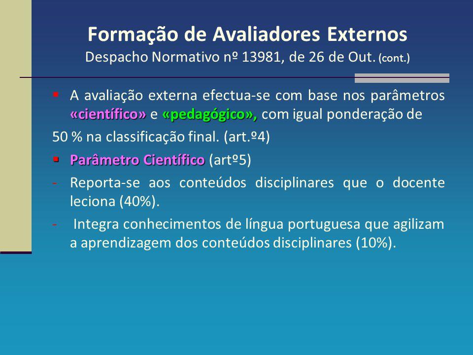 Formação de Avaliadores Externos Despacho Normativo nº 13981, de 26 de Out. (cont.) «científico»«pedagógico»,  A avaliação externa efectua-se com bas