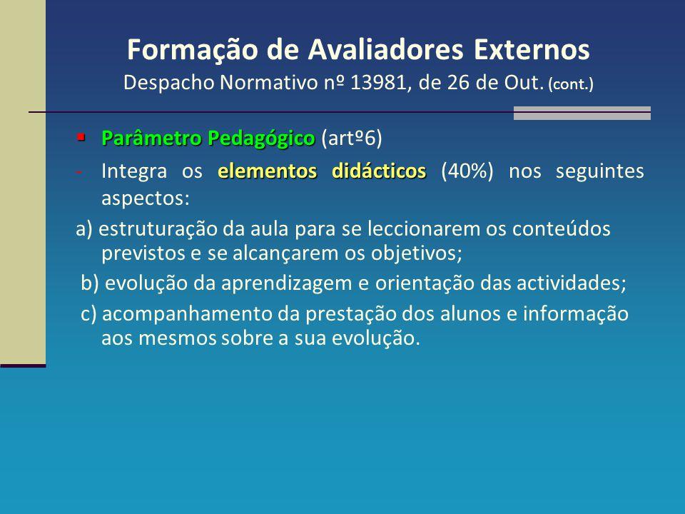 Formação de Avaliadores Externos Despacho Normativo nº 13981, de 26 de Out. (cont.)  Parâmetro Pedagógico  Parâmetro Pedagógico (artº6) elementos di