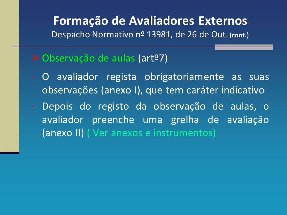 Formação de Avaliadores Externos Despacho Normativo nº 13981, de 26 de Out. (cont.)  Observação de aulas (artº7) -O avaliador regista obrigatoriament