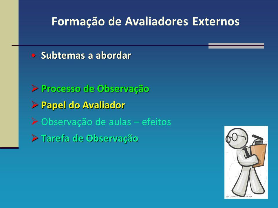 Formação de Avaliadores Externos Subtemas a abordar PPPProcesso de Observação PPPPapel do Avaliador OObservação de aulas – efeitos TTTTa