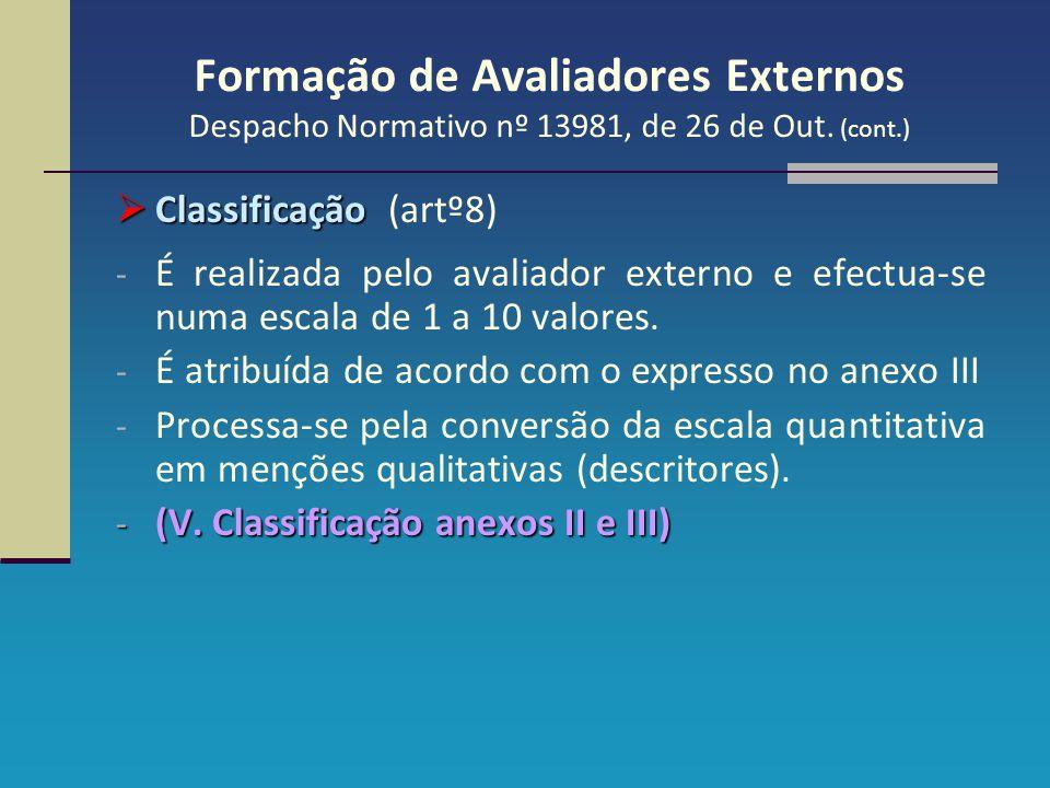 Formação de Avaliadores Externos Despacho Normativo nº 13981, de 26 de Out. (cont.)  Classificação  Classificação (artº8) - É realizada pelo avaliad