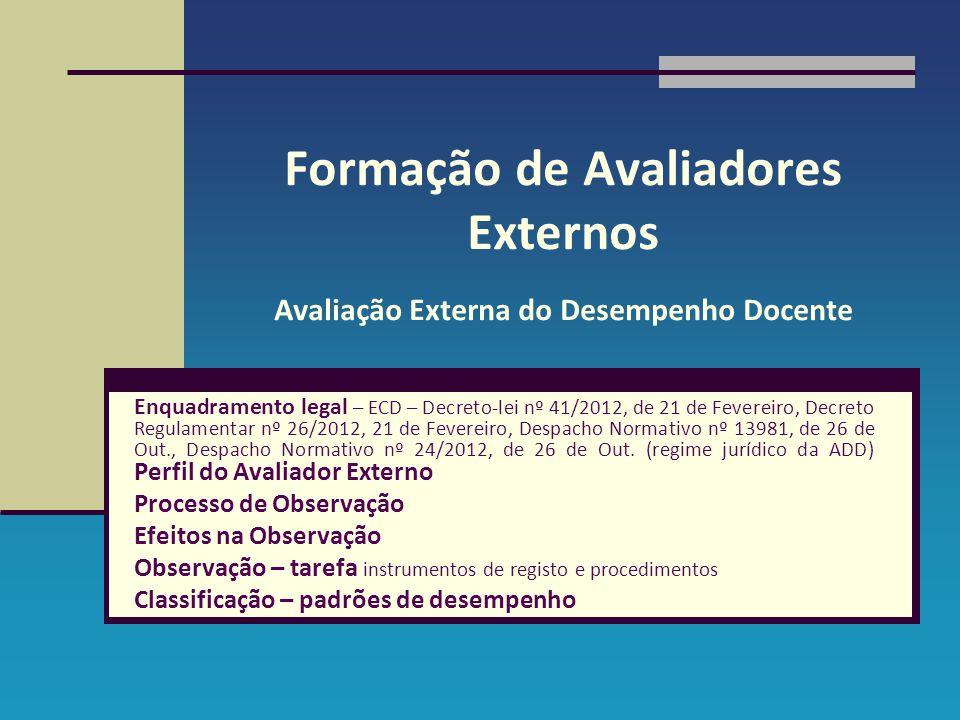 Formação de Avaliadores Externos Avaliação Externa do Desempenho Docente Enquadramento legal – ECD – Decreto-lei nº 41/2012, de 21 de Fevereiro, Decre