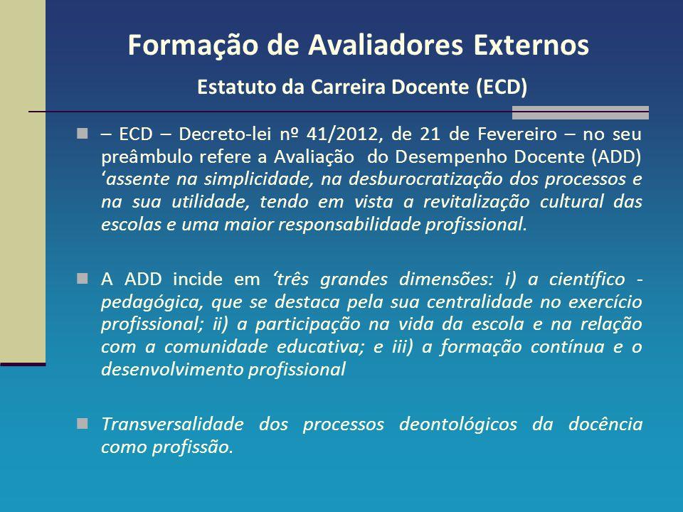 Formação de Avaliadores Externos Estatuto da Carreira Docente (ECD) – ECD – Decreto-lei nº 41/2012, de 21 de Fevereiro – no seu preâmbulo refere a Ava
