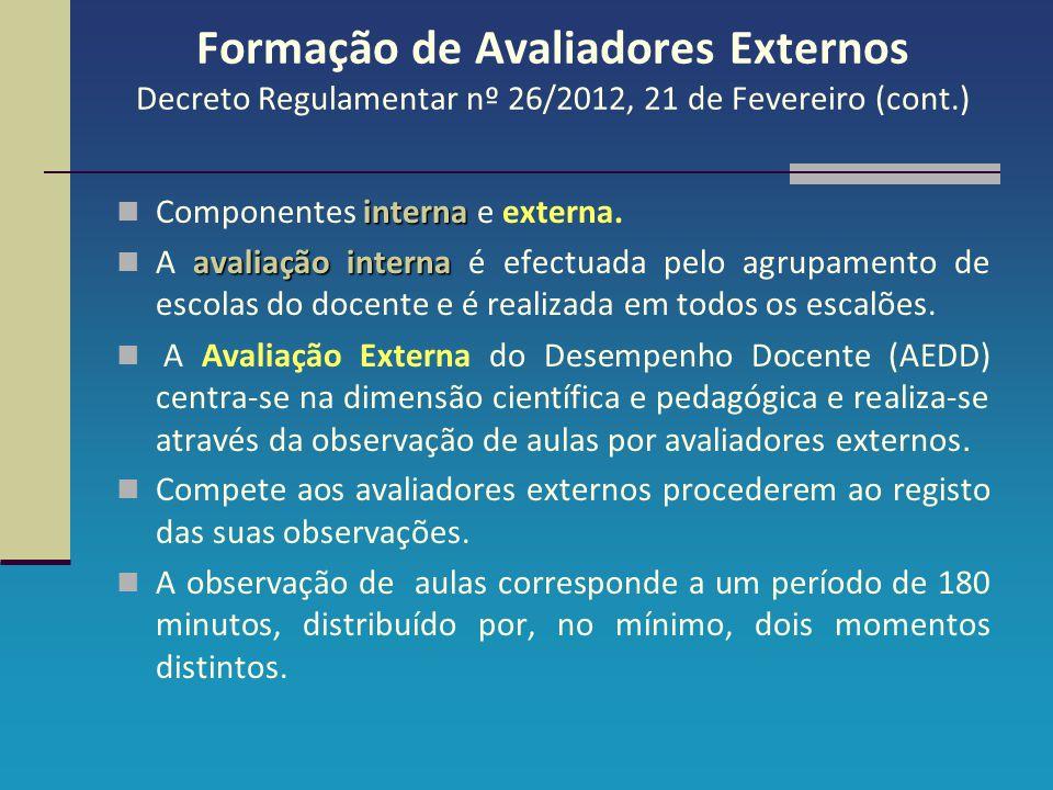Formação de Avaliadores Externos Decreto Regulamentar nº 26/2012, 21 de Fevereiro (cont.) interna Componentes interna e externa. avaliação interna A a