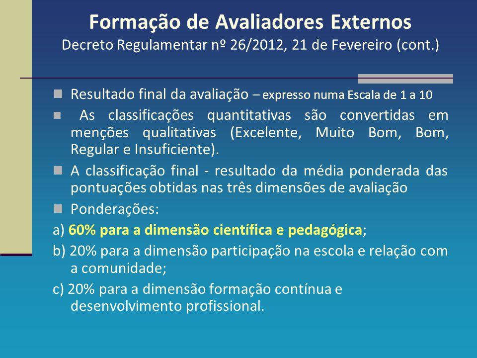 Formação de Avaliadores Externos Decreto Regulamentar nº 26/2012, 21 de Fevereiro (cont.) Resultado final da avaliação – expresso numa Escala de 1 a 1