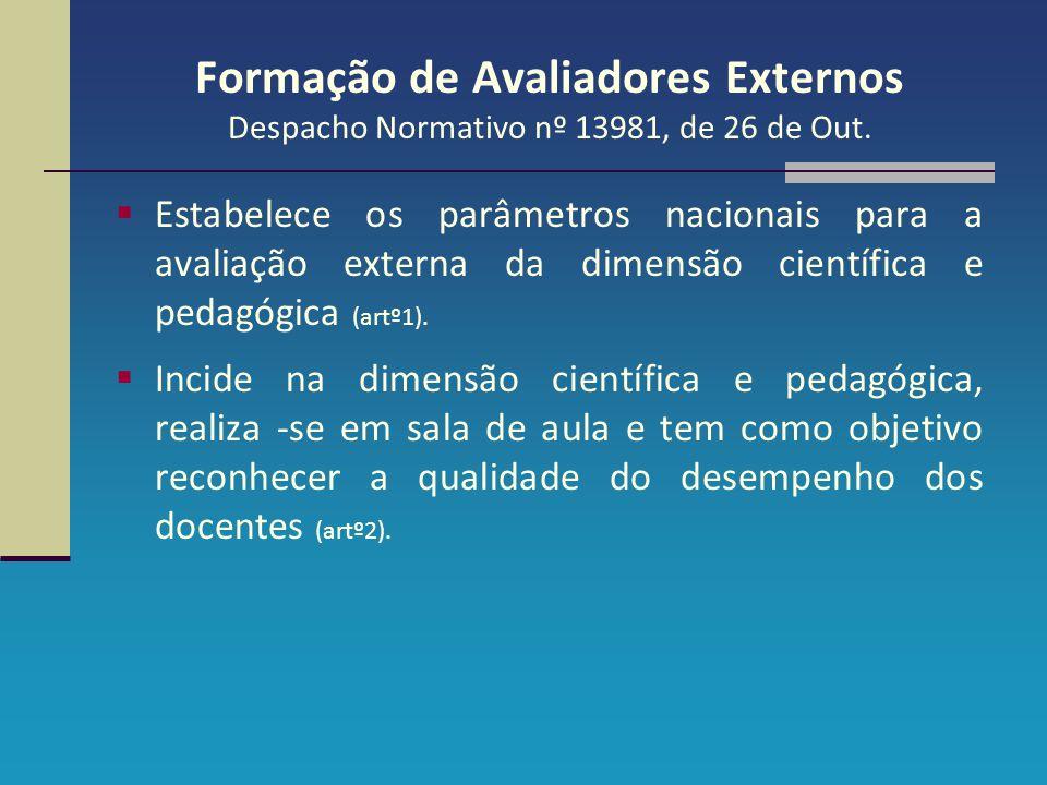 Formação de Avaliadores Externos Despacho Normativo nº 13981, de 26 de Out.  Estabelece os parâmetros nacionais para a avaliação externa da dimensão