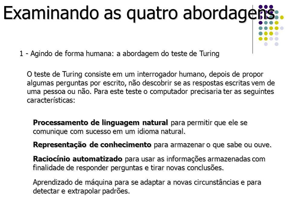 Examinando as quatro abordagens 1 - Agindo de forma humana: a abordagem do teste de Turing O teste de Turing consiste em um interrogador humano, depoi