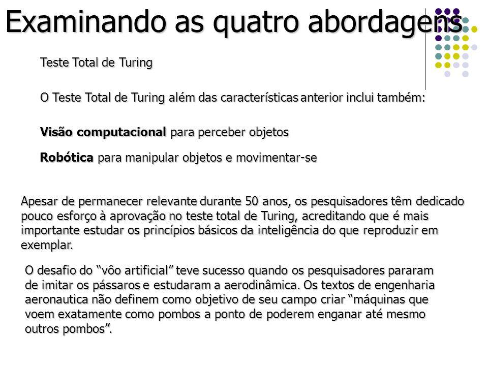 Examinando as quatro abordagens Teste Total de Turing O Teste Total de Turing além das características anterior inclui também: Visão computacional par