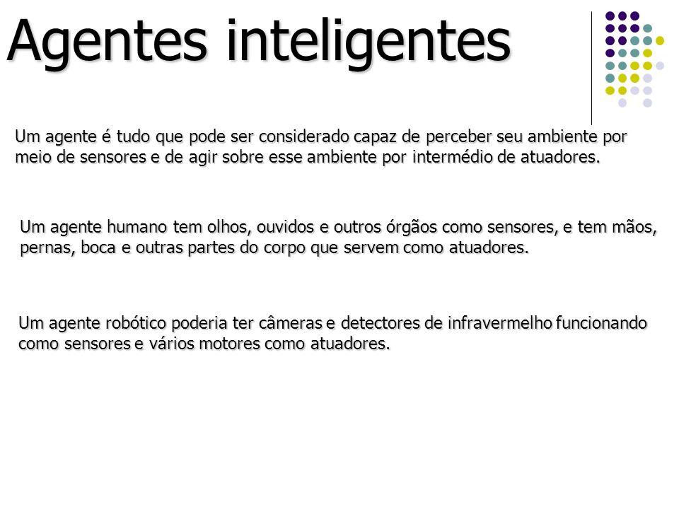 Agentes inteligentes Um agente é tudo que pode ser considerado capaz de perceber seu ambiente por meio de sensores e de agir sobre esse ambiente por i