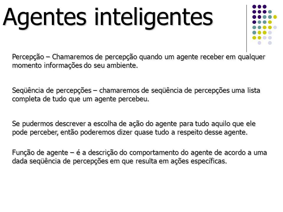 Percepção – Chamaremos de percepção quando um agente receber em qualquer momento informações do seu ambiente. Seqüência de percepções – chamaremos de
